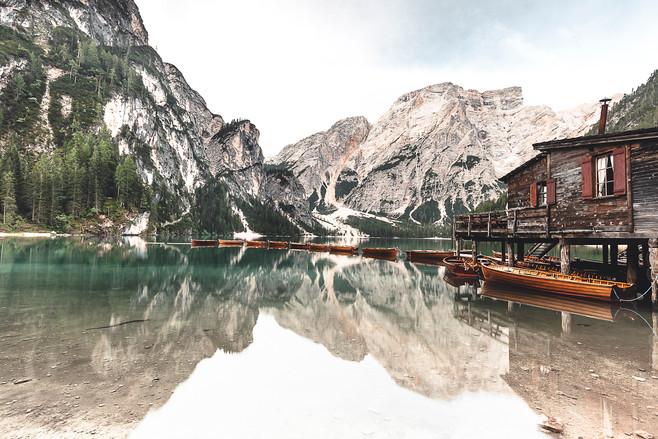 Lago de Braies, Dolomites, Italie