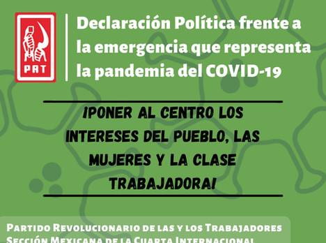 Declaración del PRT frente a la emergencia que representa la pandemia de COVID-19