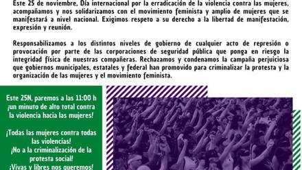 ¡LAS CALLES Y LA ALEGRÍA NOS PERTENECEN!DÍA INTERNACIONAL DE LA ELIMINACIÓN DE LA VIOLENCIA CONTRA