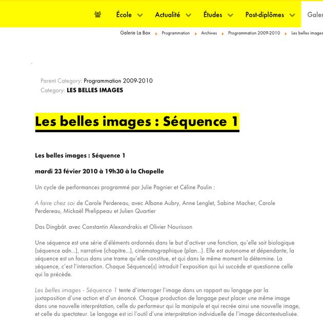 """2008 """"À faire chez soi"""" Carole Perdereau / Interprète"""