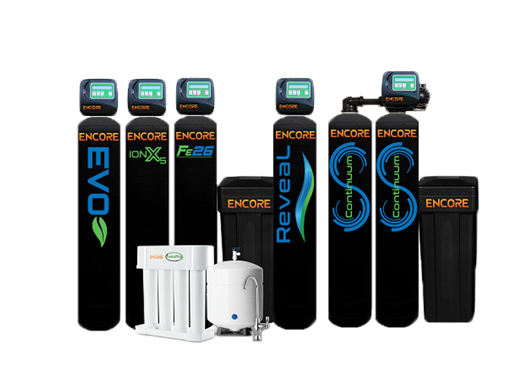 Encore Water Softener, Encore Reveal, Encore Evo, Encore Evolve, Evolve water treatment, Soft Water Plus, https://www.encorewatersystems.com, Nelsen Corp, B&R Industries, Ultima Water, Charger Water