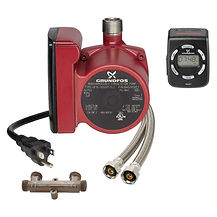 Hot Water Recirculation Comfort System eliminates cold water runoff at the faucet using a bypass valve and pump with a timer to control water flow.