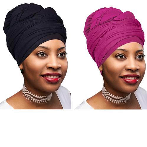 2 Pcs Black and Fuchsia Solid Color Head Wrap