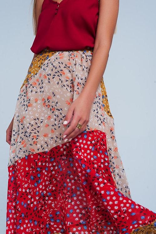 Red Floral Meadow Bias Cut Midi Skirt