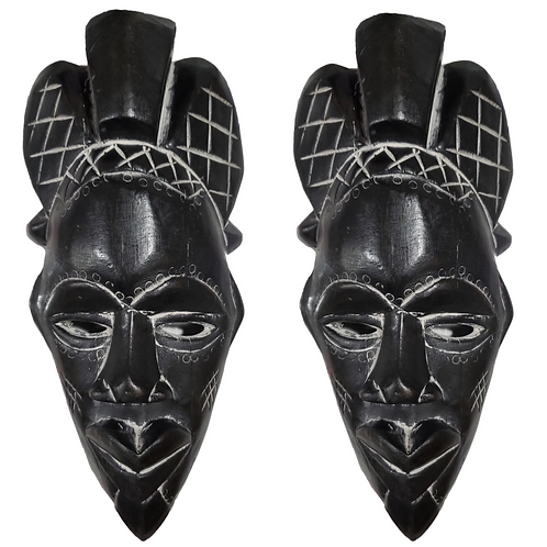 """2 Pieces of 12"""" African Wood Mask: Black"""