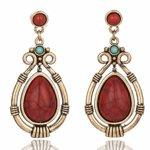 Vintage Red Stone & Turquoise Earrings