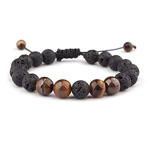 Adjustable Anxiety Diffusing Lava Stone Bracelet W/Brown Stones