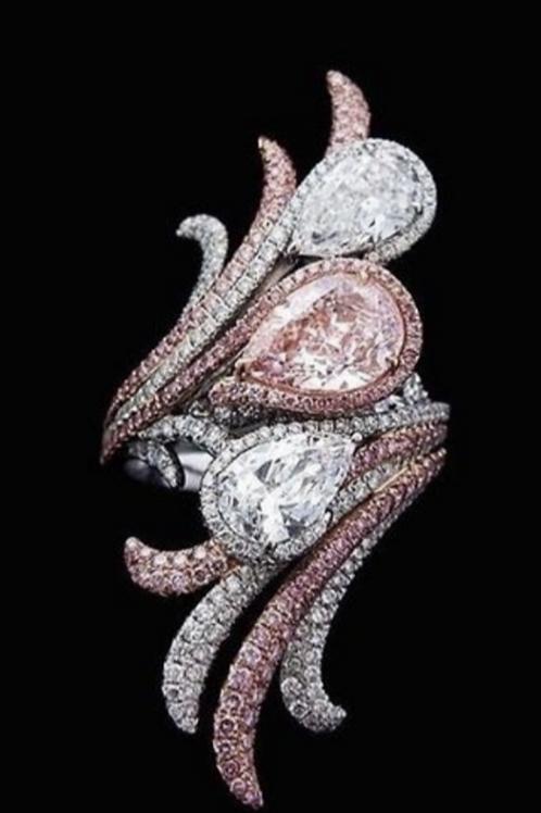 Pearl Cut Pink & White Diamond Ring