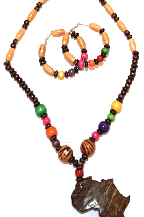 Wooden and/or Beaded Africa Map Pendant Ethnic Tribal African Set