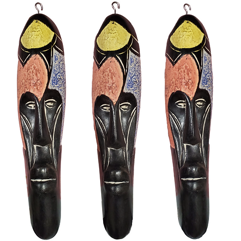 """3 Pieces of 12"""" African Cameroon Wood Fang Mask: Multicolored"""