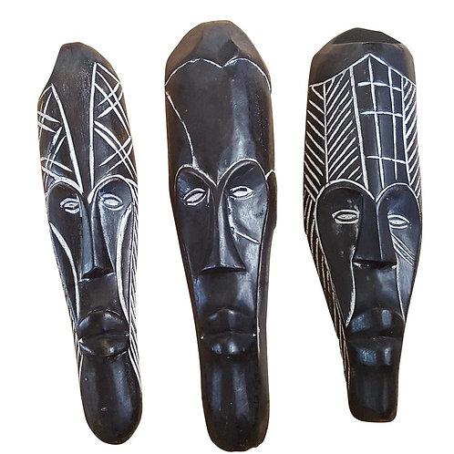 """Set of (3) Masks: 12"""" - 13"""" African Gabon Cameroon Wood Fang Mask in Black"""