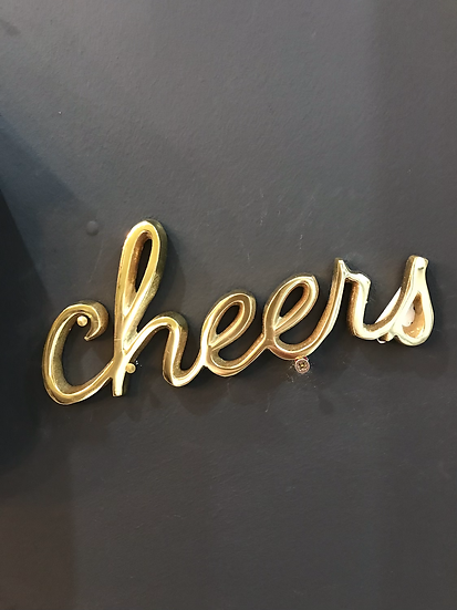 Brass 'Cheers' Wall Plaque
