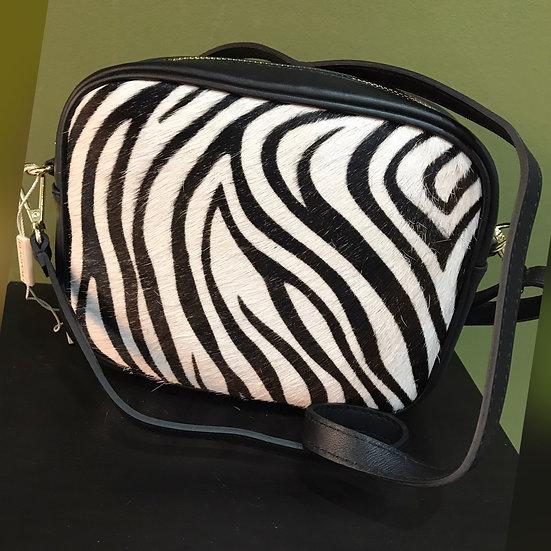 Leather Zebra Crossbody Bag (313)