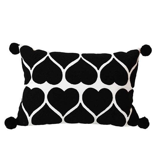 Hearts Monochrome cushion