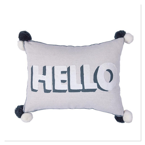 Grey Rectangle 'Hello' Cushion