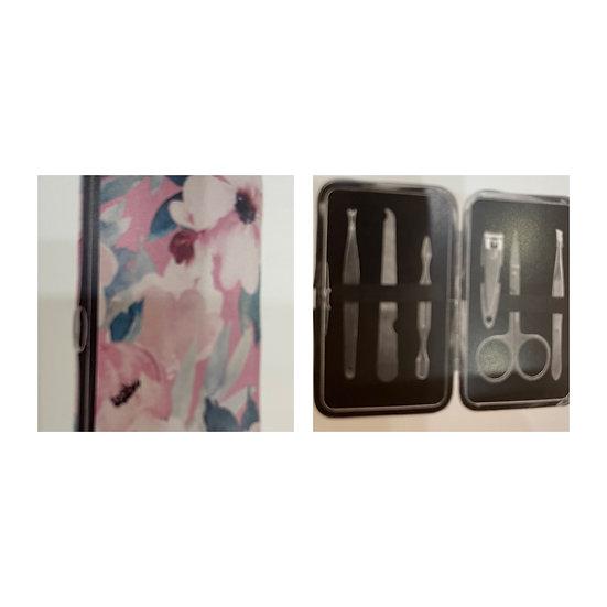 Pink Floral 6pc Manicure Set