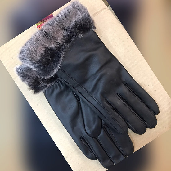 Ladies Leather Fur Trimmed Gloves 678