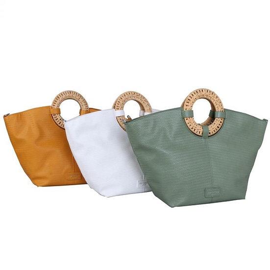 Vegan Leather Wicker Handle Tote Bag
