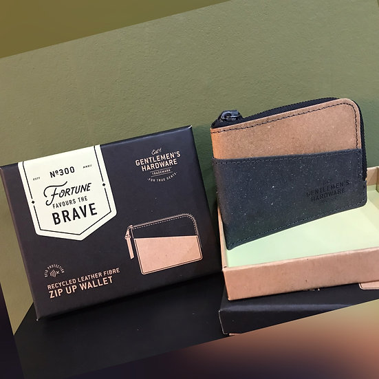 Recycled Leather Fibre Zip Up Wallet