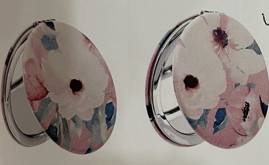 Pink Floral Compact Mirror