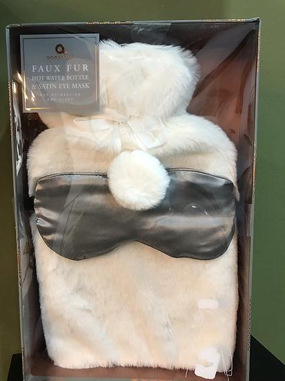 Fur Covered Hot Water Bottle & Eye Mask