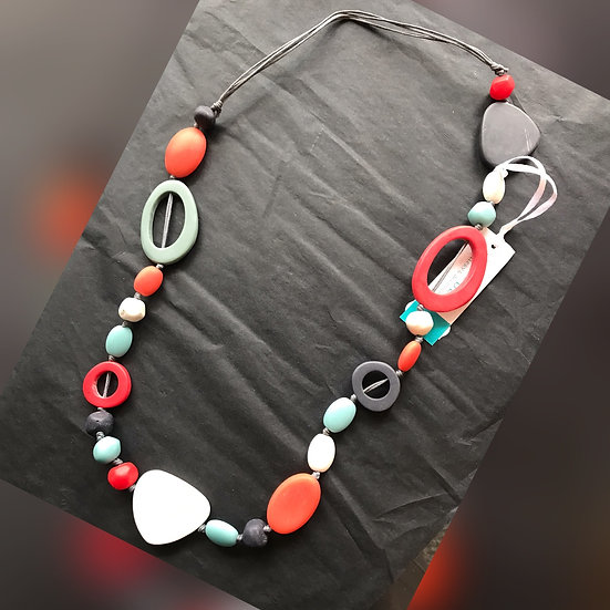Coral, blue, white, stone effect necklace