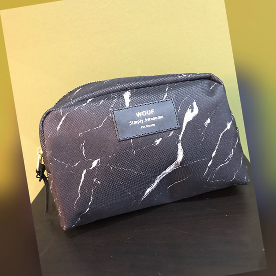 'WOUF'  black marble big beauty bag