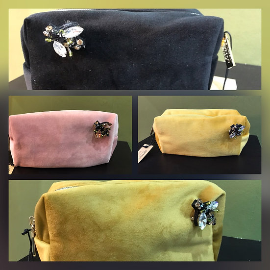 Velour Makeup Case with Bee Brooch