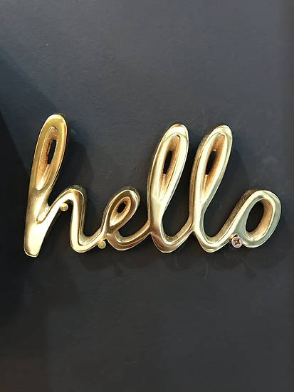 Brass Wall Plaque 'Hello'