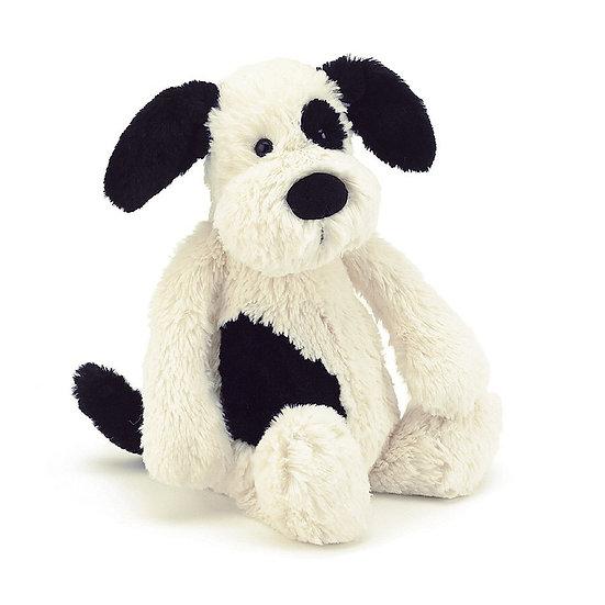 Jellycat - Medium Bashful Black & Cream Puppy.