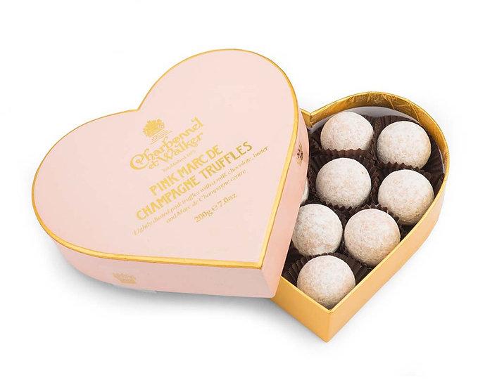 Charbonnel et Walker - Pink Marc de Champagne Chocolate Truffle Heart Box