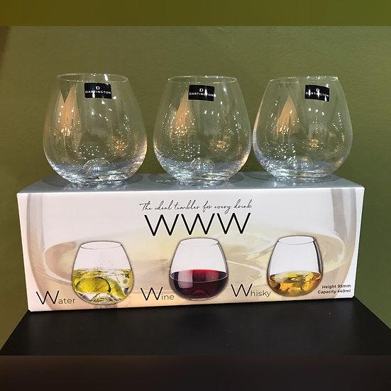 Water, Whisky, Wine glass Trio