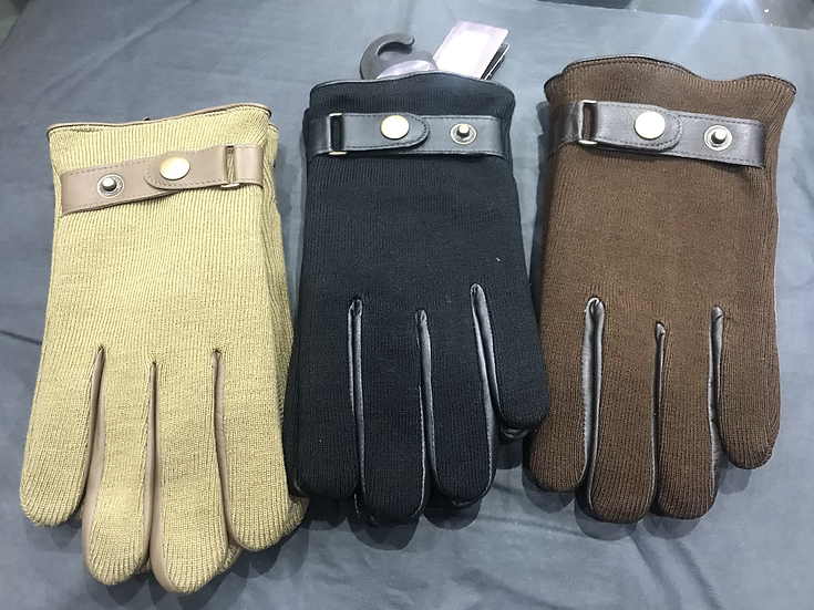 Gents Leather / Knit Effect Gloves 708
