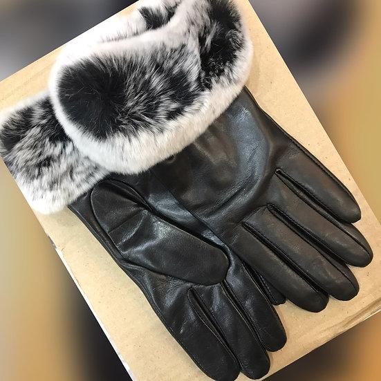 Ladies Leather Fur Trimmed Gloves 103