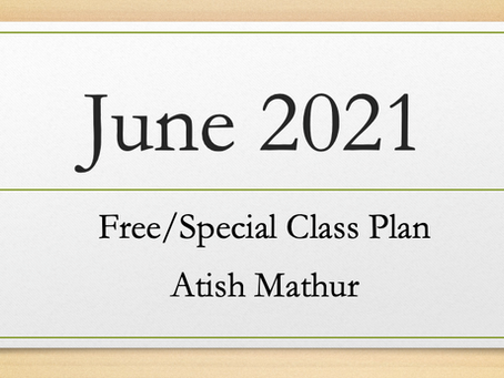 June 2021 : Free/Special Class Plan