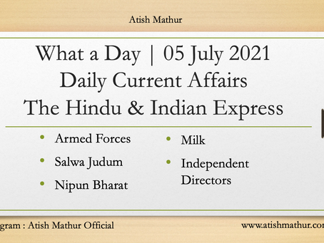 What a Day   05 July   Daily Current Affairs   The Hindu   The Indian Express