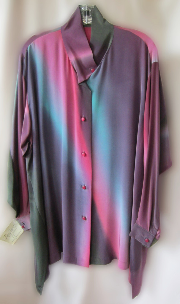 Hand Painted Crepe de Chine - Pretty Fabulous Shirt - Swing style, drop shoulder and shaped hemline