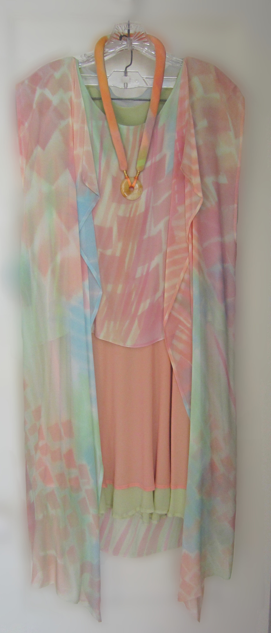 Hand Painted Silk Chiffon full length Summer Jacket over a matching Little Beauty top with double layer Bias Swing Skirt and a Renaissance Necklace {4 piece set}