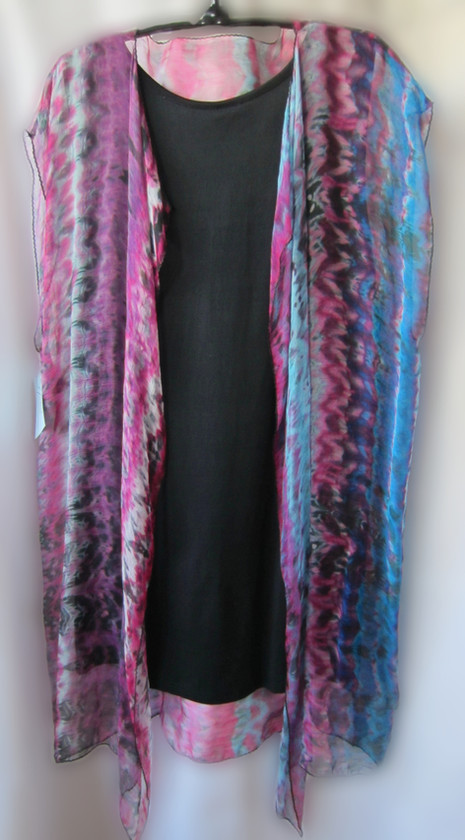 Hand Painted Silk Gauze Over Jacket                              {black dress not included}