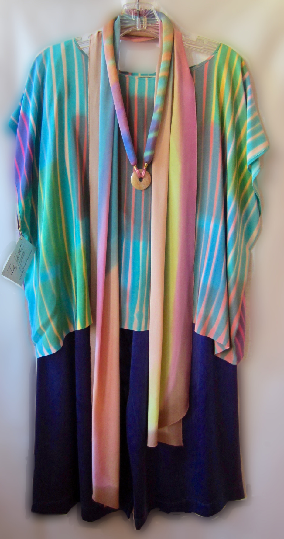 Hand Painted Crepe de Chine - Little Beauty top - Color Streamer Scarf  and Renaissance Necklace - with Sand Washed Charmeuse Silk Wide leg pant. {4 piece set}