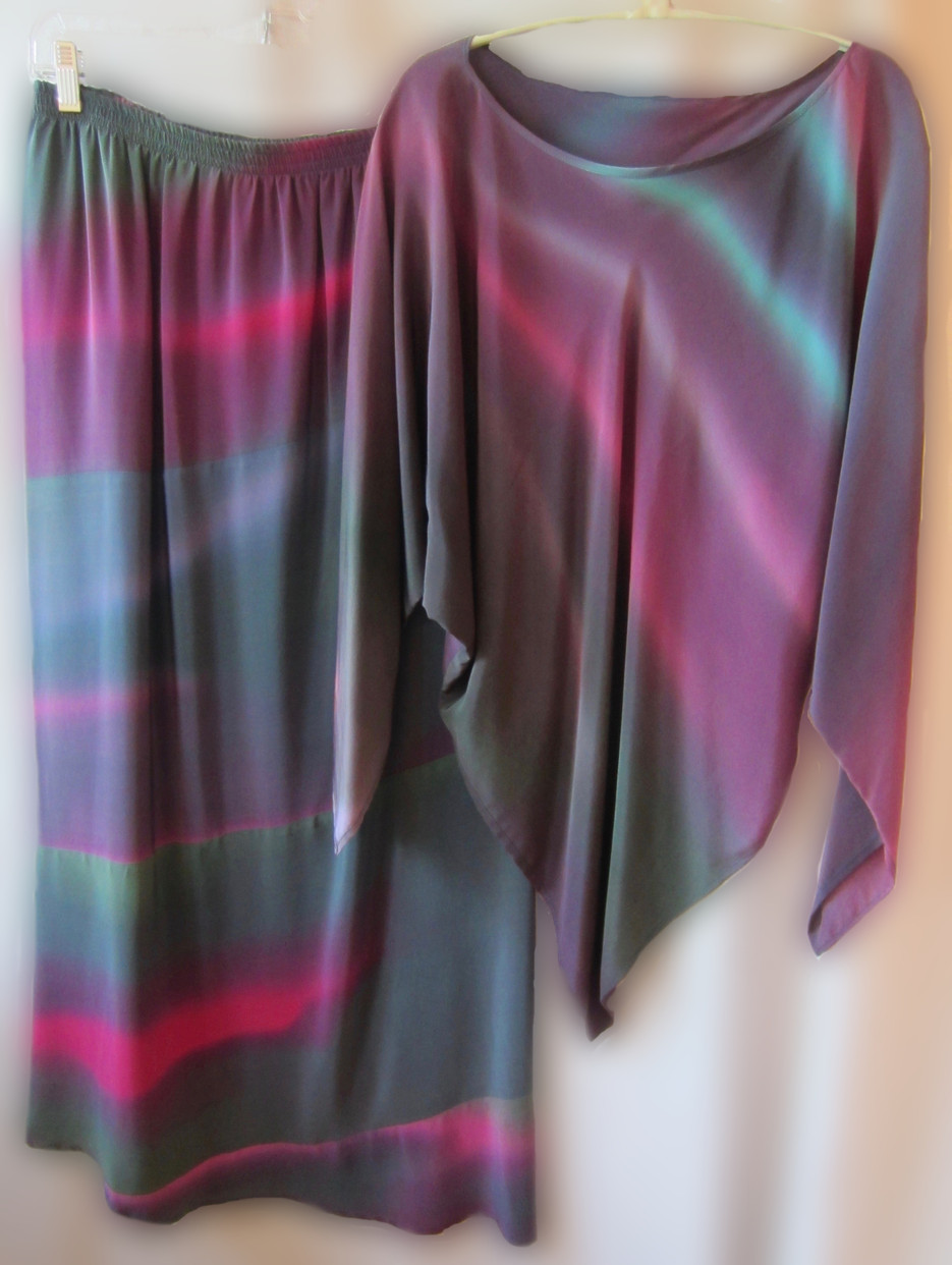 Hand Painted Silk Crepe de Chine Triangle Top and Evening Ripple skirt {2 piece set}