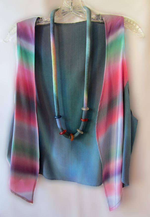 Hand Painted Crepe de Chine Soft Vest and             Renaissance Necklace             {2 piece set}