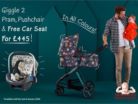 Cosatto Giggle 2 Pram, Pushchar & Free Car Seat!