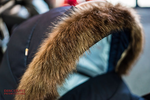 Close-up of faux fur on pram
