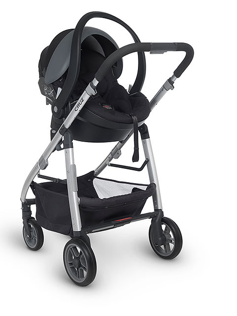 Black UPPAbaby pram with car seat