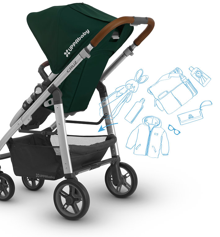 Green UPPAbby pram with easy-access basket