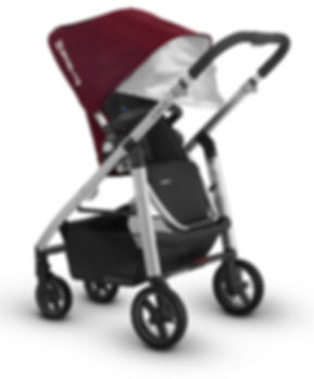 Red UPPAbaby pram