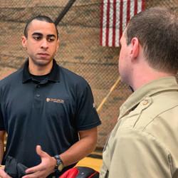Centurion Senior Instructor working with a police academy cadet