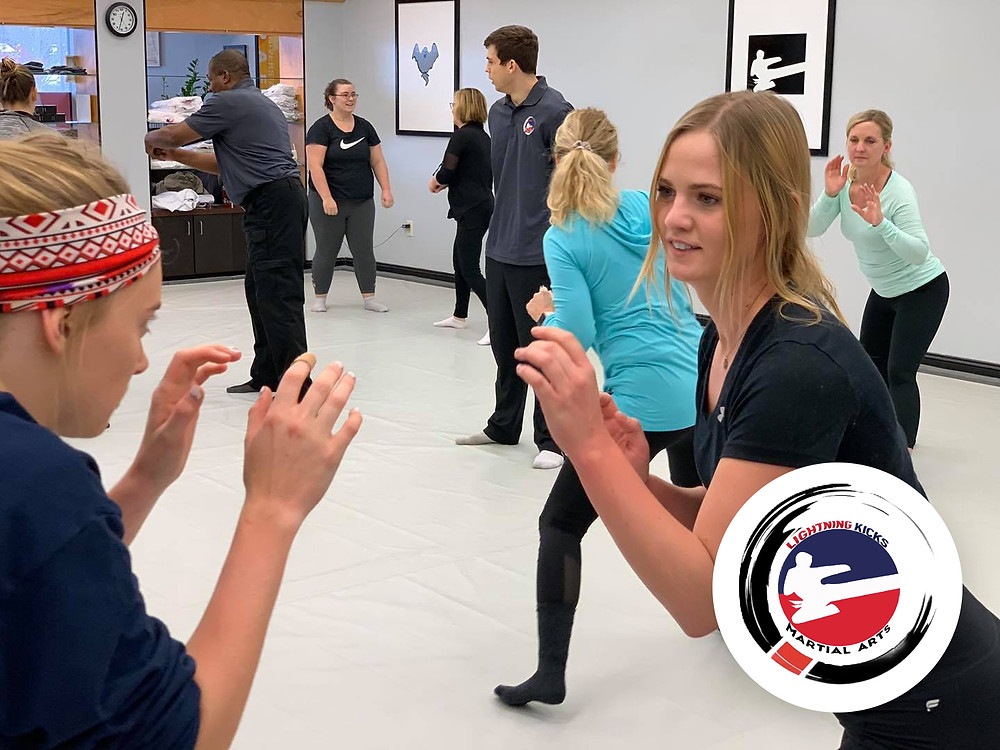 A women's self defense workshop at Lightning Kicks, located in Portage, MI.