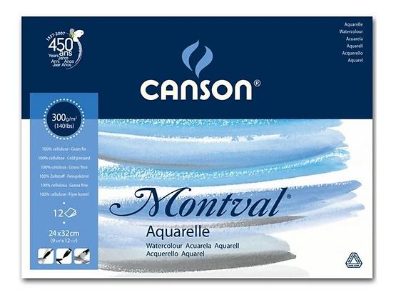 Bloco de Papel Aquarela Canson - Montval Textura Fina 300g/m² A4+ 24x32 cm com 1